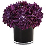 Nearly Natural Dahlia Mum Silk Arrangement in Vase, Purple