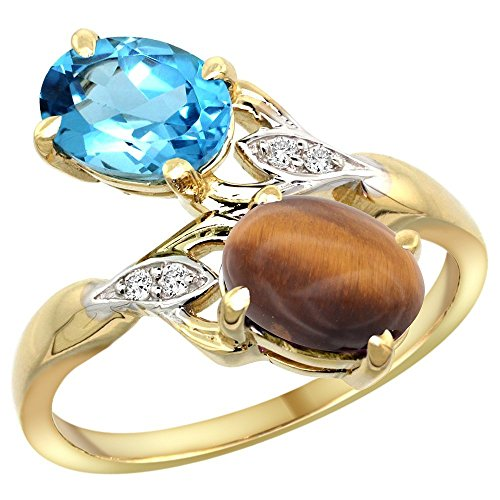 (10K Yellow Gold Swiss Blue Topaz & Tiger Eye 2-stone Mother's Ring Oval 8x6mm Diamond Accents, 3/4 inch wide, size)