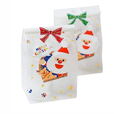 50 bolsas de regalo con diseño de Navidad, Papá Noel, hechas de celofán y 50 pegatinas de lazo Santa