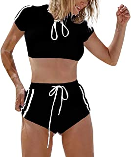 Rawdah_ 2pcs Donna Sportivo Costumi da Bagno Mare Bikini Due Pezzi Imbottito Costume da Bagno Due Pezzi Stile Sportivo da Donna Ideale per la Piscina