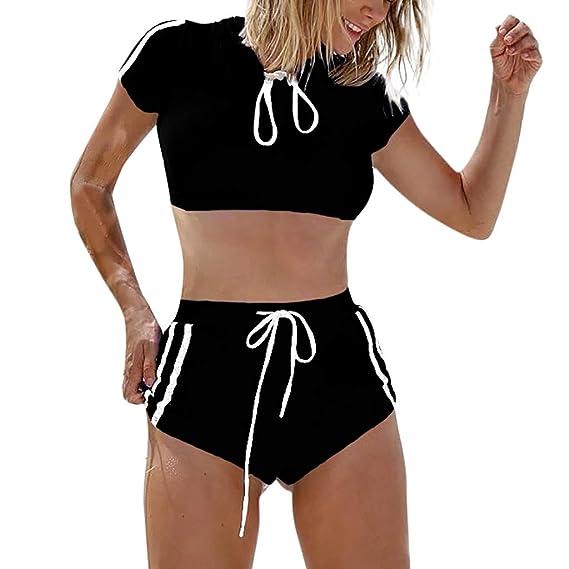 SCHOLIEBEN Sport Bikini Damen Set Sexy High Waist Push Up Bandeau BH Bustier Triangle Retro Schöne Teenager Mädchen Bademode