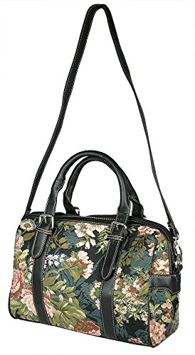 Banberry Designs Blossom Tapestry Travel Tote Shoulder Bag Approx. 14 Inch Wide
