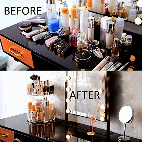 4f09cd1b80b0 JOffielle Makeup Display 360 Rotating Acrylic Drawer Organizer with  2-Layers Vanity Makeup Organizer Lower Layer for Big Products Easy  Accessibility ...