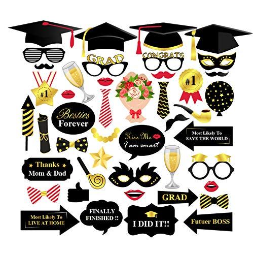 (Topoox Graduation Photo Booth Props 44 Count Class of 2019 Grad Decorations with Sticks for 2019 Graduation Party Favors)