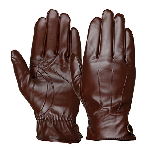 Luxina Winter Warm Gloves Touchscreen Texting Gloves Faux Leather Outdoor Cycling Driving Gloves For Men Brown 9.5