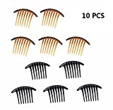 french 10PCS Fireboomoon Contemporary Seven Tooth French Twist Comb, Black And Brown(Two colors, each five).