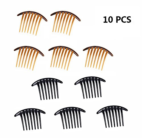 10PCS Fireboomoon Contemporary Seven Tooth French Twist Comb, Black And Brown(Two colors, each five).