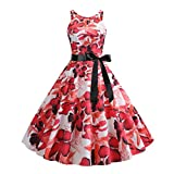 Gibobby Women's V Neck 3/4 Sleeve Digital Floral Printed Party Loose Long Maxi Dress with Belt S-3XL Red