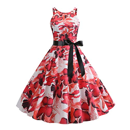 Pongfunsy Women's Dresses Women Vintage 1950s Retro Sleeveless Belt Print Dress Summer Fashion Party Prom Swing Dress Red