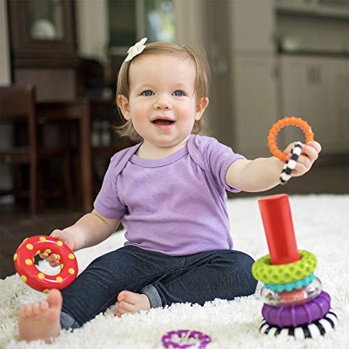 51KR3a8pslL - Sassy Stacks of Circles Stacking Ring STEM Learning Toy, 9 Piece Set, Age 6+ Months