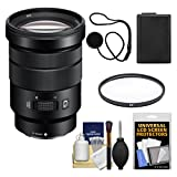 Sony Alpha NEX E-Mount 18-105mm f/4.0 OSS PZ Zoom Lens with Battery + UV Filter + Kit for A7, A7R, A7S Mark II, A5100, A6000, A6300 Cameras