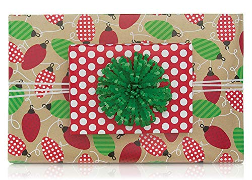 (Reversible Vintage Lights Polka Dots Christmas Gift Wrap Wrapping Paper - 15 Foot Roll)