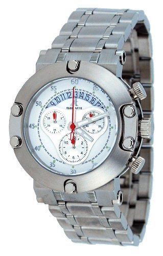 Adee Kaye #AK7130-M Men's Stainless Steel White Dial 100M Chronograph Sports Watch
