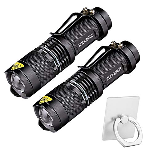 LED Flashlight, RockBirds 7W Mini Flashlight 300 Lumens with 3 Modes (2 Pack)