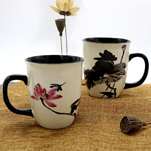 ee1b24d0492 Asmwo Funny Ceramic Magic Heat Color Changing Art Coffee Tea Mug Lotus  Printing Porcelain Mugs for Women Personalized White Green Tea Cup 16 oz  Large Coffee ...