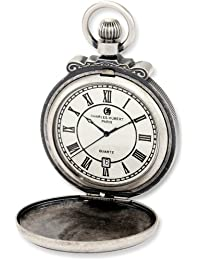 Charles-Hubert, Paris 3864-S Classic Collection Antiqued Finish Hunter Case Quartz Pocket Watch
