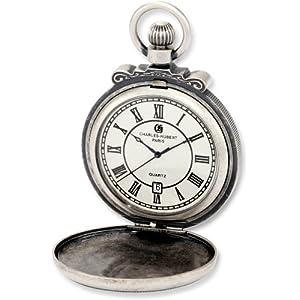 Charles-Hubert, Paris 3864-S Classic Collection Antiqued Finish Hunter Case Quartz Pocket Watch