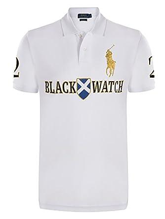 b51f02de50a8 Custom Fit Ralph Lauren Black Watch Big Pony Polo T Shirt for Men (X-Large