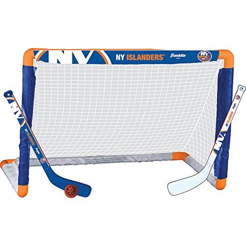 Franklin Sports New York Islanders Mini Hockey Knee Hockey Goal, Ball & 2 Stick Combo Set - 28