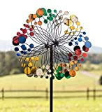 Plow & Hearth 55760-MLT Garden Wind Spinner, 24'' x 10.75'' x 75'', Bubbles Multicolor