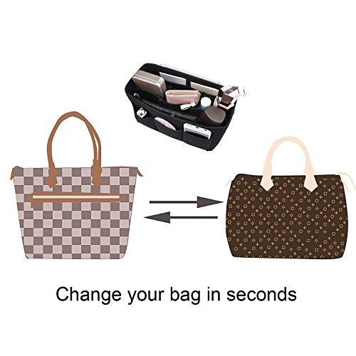 12 Organiser Travel Women's Black Liner Handbag Pockets Bag Cosmetic Black Handbag Insert Felt APSOONSELL Large Tidy 0Pt11q