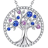 The Tree of Life September Birthstone Blue Sapphire Pink Tourmaline Necklace Birthday Gift for Her Sterling Silver Fine Jewelry for Wife Lady Family
