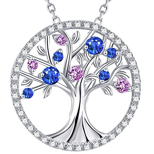 Tree of Life Necklace Pendant LC Blue Sapphire Pink Tourmaline Necklace Sterling Silver Jewelry Birthday Anniversary Gift for Mom Wife Women ()