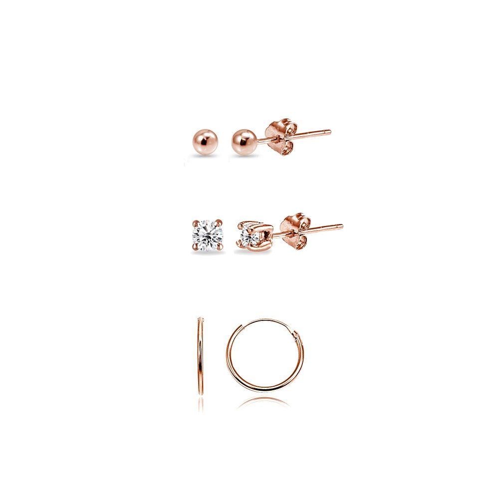 3 Pairs Rose Flash Sterling Silver 10mm Endless Hoops 2mm CZ & Ball Stud Unisex Cartilage Earrings Set