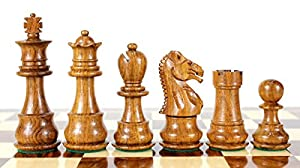 """House of Chess - Golden Rosewood/Boxwood Chess Pieces Galaxy Staunton 3"""" (76 mm) 2 Extra Queens - Triple Weighted"""