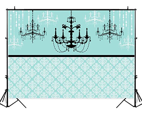 Funnytree 7x5ft Breakfast Co Blue Backdrop Turquoise Damask Sweet 16 Adult Birthday Party Photography Background Wedding Bridal Shower Chandelier Dessert Cake Table Decorations Photo Booth Banner -