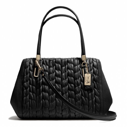 Coach Madison Madeline Ew Gathered Leather Satchel Bag Black New 25985