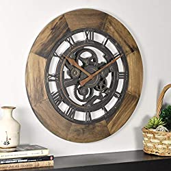 FirsTime & Co. 00237 Wood Gear Wall Clock, 19, Aged Brown
