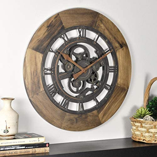 FirsTime Co. Wood Gear Wall Clock, 19 , Aged Brown