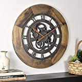 FirsTime & Co. 00237 Wood Gear Wall Clock, Brown