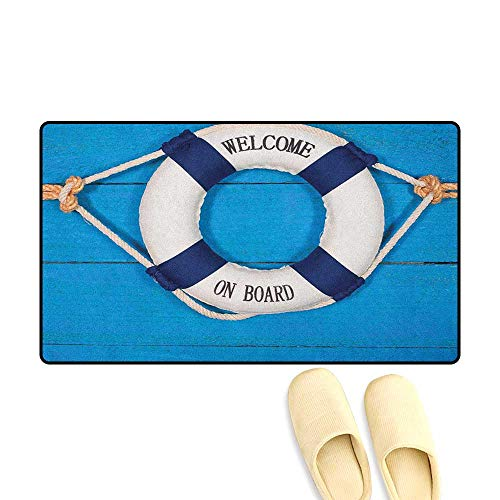 zojihouse Buoy Customize Door mats for Home Welcome on Board Sign on Painted Timber Wall Life Buoy Tightened with Rope Size:24