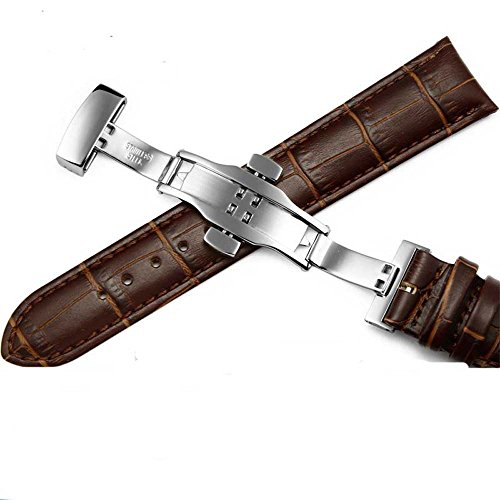 - BOS Brown Real Leather Replacement Strap Wrist Band Watchband with Staineless Steel Butterfly Clasp (20mm)
