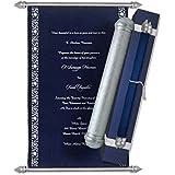 high end scroll wedding invitations birthdayanniversary scroll wedding scrolls navy - Wedding Scroll Invitations