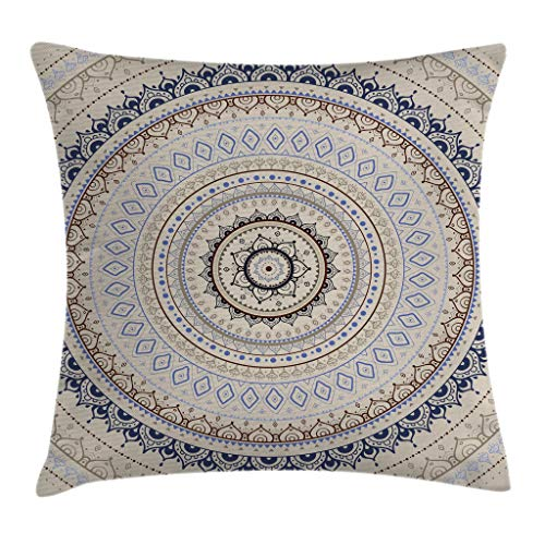 Ambesonne Mandala Decor Throw Pillow Cushion Cover by, Retro East Back with Swirled Ethnic Harmonic Cosmic Lotus Yoga Boho Artwork, Decorative Square Accent Pillow Case, 16 X 16 Inches, Beige Blue