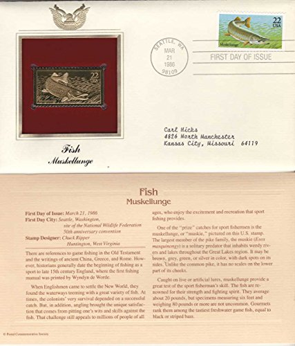 1986 First Issue (1986 Fish Muskellunge First Day Issue 22 kt Gold Stamp FDI FDC Golden Replica Cover)