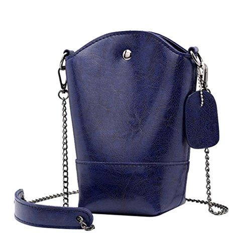 KIMODO Pure Phone Bag Shoulder Women Color Blue Crossbody Bucket Leather Dark Vintage Bag rqSEwgxUr8
