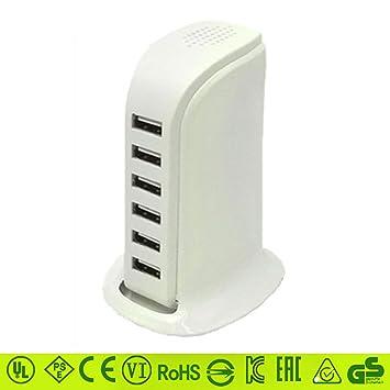 ASDFGH Multicargador USB, 40w 12A 6 Puertos Ultra Compacto ...