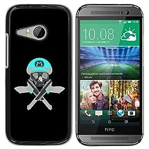 GOODTHINGS ( NO PARA HTC ONE M8 ) Funda Imagen Diseño Carcasa Tapa Trasera Negro Cover Skin Case para HTC ONE MINI 2 / M8 MINI - cráneo juego divertido M retro armas pistolas