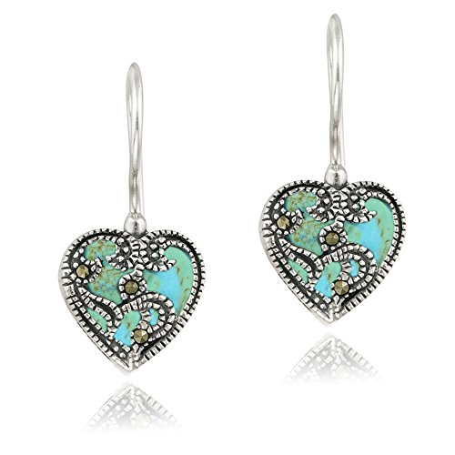 Sterling Silver Synthetic Turquoise & Marcasite Heart Drop Earrings