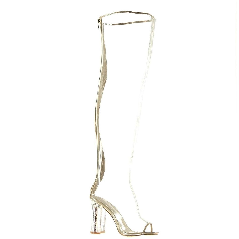 Angkorly - damen Schuhe Oberschenkel-Boot Stiefel - Sexy - Peep-Toe -  transparent - glitzer - glänzende Blockabsatz high heel 10 CM - Beige 101-6  T 41: ...