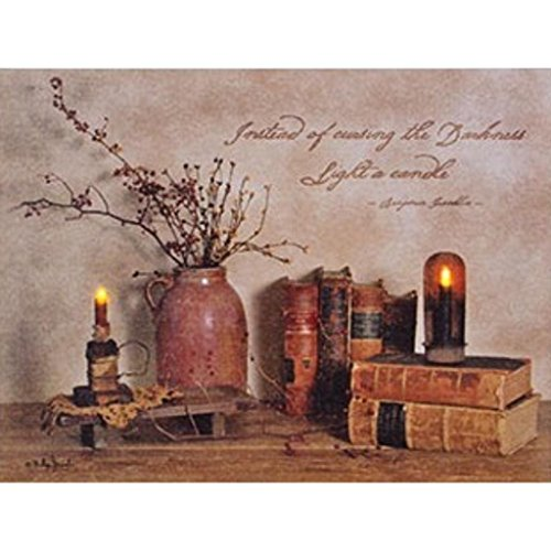 Plaques Inspirational Wholesale (Light a Candle LED Light-up 12 x 16 inch Inspirational Canvas Wall Plaque)