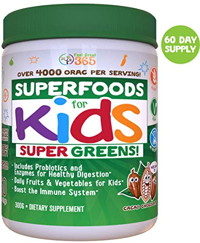 Kids Superfood Greens Cocoa Chocolate Superfood Powder by Feel Great 365 (60 Servings) | Non-GMO, Made with Real Fruits & Vegetables, Gluten Free, Vegan ● Multivitamin Drink ● Helps Build Immunity