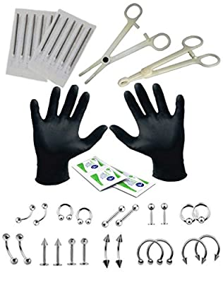 BodyJ4You 36PCS Professional Piercing Kit Stainless Steel 14G 16G Belly Ring Tongue Tragus Nipple Lip Nose Jewelry