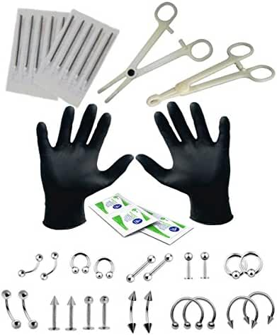 Professional Piercing Kit 35 Pieces for Belly Tongue Ear Eyebrow Nipple Lip Nose and Body 16G, 14G