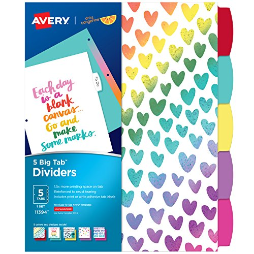 Avery + Amy Tangerine Designer Collection Big Tab Dividers, Rainbow Vibes, 5-Tab Set (Avery Divider Tabs)