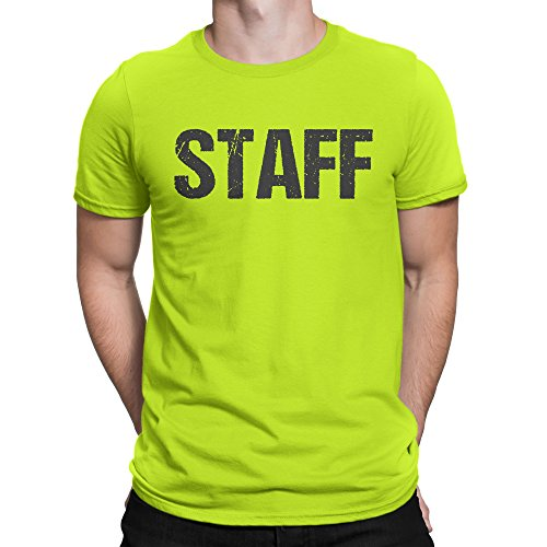 NYC FACTORY Official Neon Staff T-Shirt Front & Back Print Mens Event Shirt Yellow Tee (4-XL) (Yellow T-shirts Front Only)